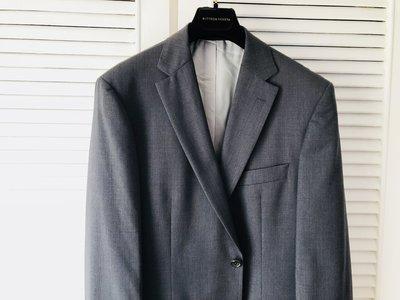 全新原價美金$995 Hugo Boss super100 鐵灰細格單排兩釦西裝外套