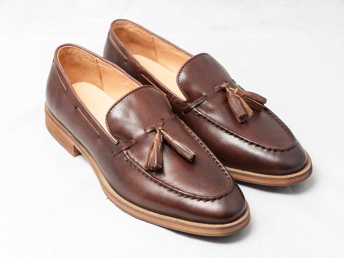 流蘇樂福鞋:小牛皮手工刷色真皮男鞋皮鞋-咖啡色-免運費-[LMdH直營線上商店]E1B15-89