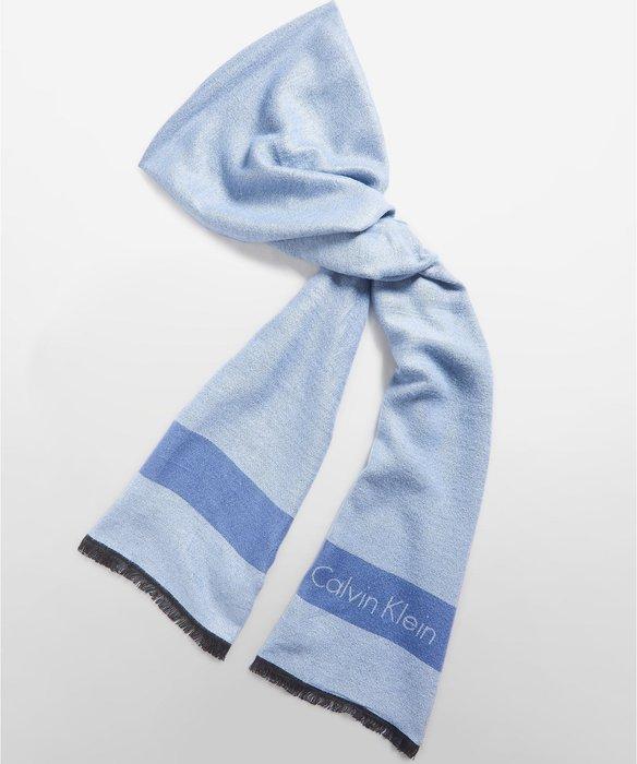 全新美國名牌 Calvin Klein 藍色圍巾絲巾長巾,只有一條,低價起標無底價,本商品免運費!