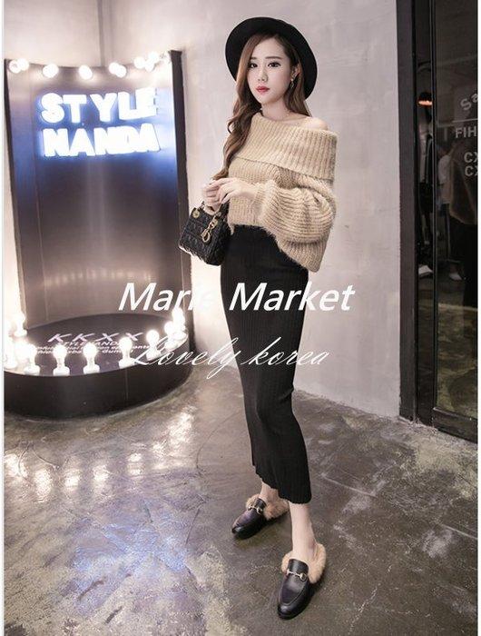 ☆ Marie Market ☆ 韓國訂單 性感開岔針織半身裙 中長款包臀裙 黑色打底裙 時尚一步裙