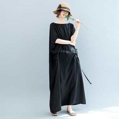 連衣 裙 短袖 連身裙-蝙蝠袖寬鬆繫帶長款女裙裝73te5[獨家進口][米蘭精品]
