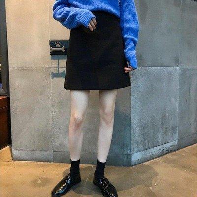 ZIHOPE CHI韓風春裝氣質百搭高腰純色顯瘦半身裙加厚毛呢A字裙短裙包臀裙ZI812
