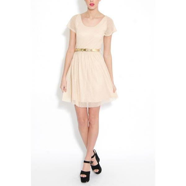 現貨UK8 英國品牌Rare 金屬裸膚色大露背法式洋裝禮服