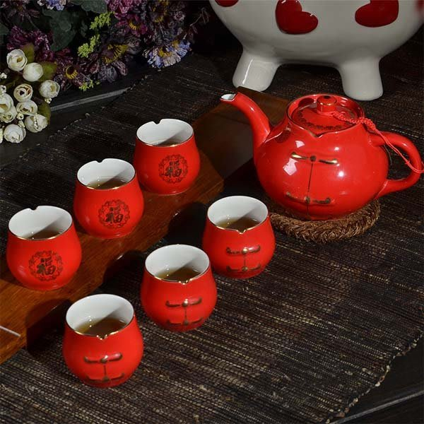 5Cgo【茗道】含稅會員有優惠  43085215684 唐裝茶具7頭中國紅瓷器婚慶茶具結婚茶具生日禮品禮物福字套裝
