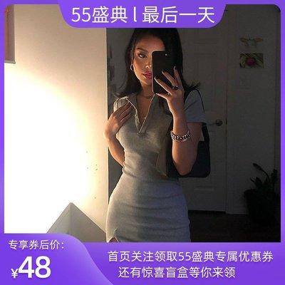 gusty新品個性短袖修身襯衫領針織裙 時尚簡約顯瘦學生性感連衣裙