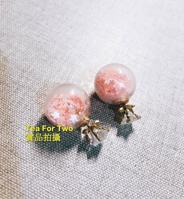 出清特賣,百元系列,韓國正品(現貨NO2)~~粉色透明小碎面鑽石可愛耳環