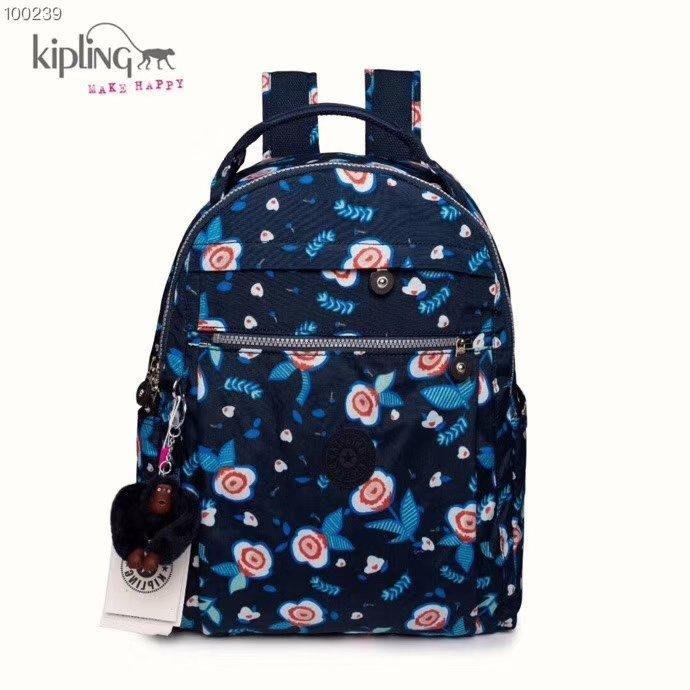凱莉代購 Kipling 猴子包 深藍花朵 BP3914 旅行 登山 多用拉鍊款輕量雙肩後背包 電腦包 大款 防水 背面可插行李箱 預購