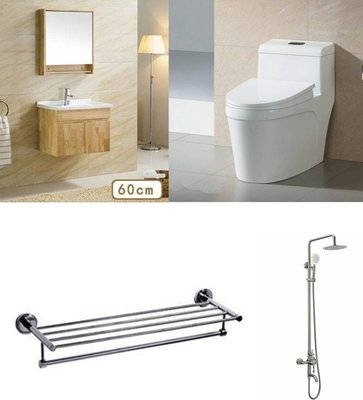 FUO衛浴: 61公分鄉村風橡木浴櫃套組特價出售(6146+2553+823+a56)