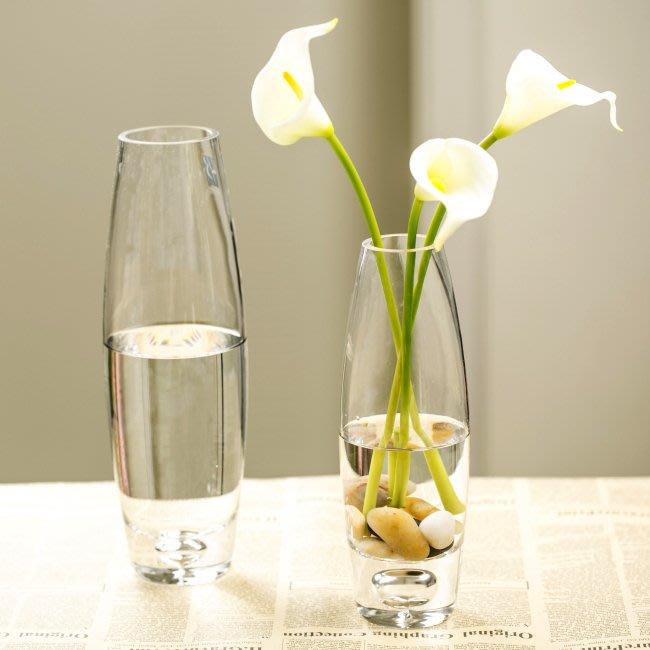 (免運)炮彈橢圓形花瓶客廳裝飾玻璃 底部氣泡橢圓形透明百合鮮花插花瓶【莉芙小鋪】