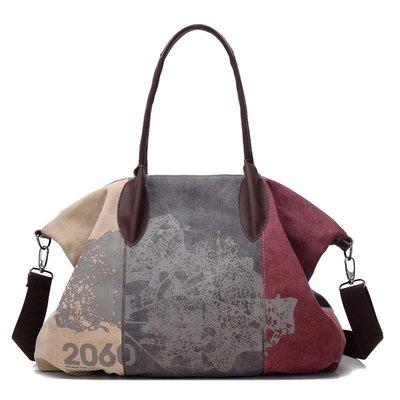 肩背包帆布手提包-撞色拼接時尚印花女包包3色73wa21[獨家進口][米蘭精品]