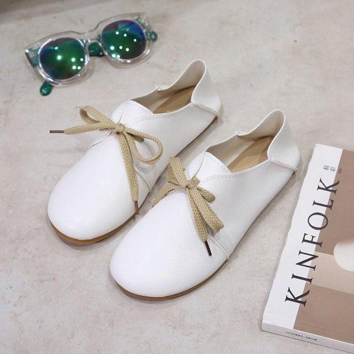 圓頭小白鞋平底兩穿娃娃鞋休閒文藝范女單鞋潮