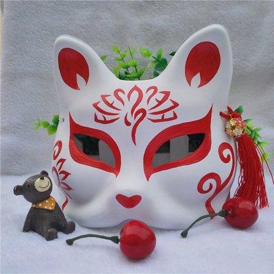 hello小店-和風手繪面具 COS 舞臺表演 和服 漢服拍照面具 手繪狐貍精美面具#面具#萬聖節面具#