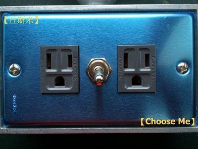 【丘斯米 Choose me】工業風  開關插座  不鏽鋼  單孔開關  灰色雙插座  國際牌  Panasonic