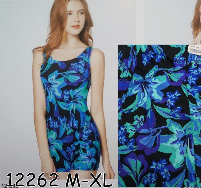 KINI-名人泳裝12262 台灣製--連身四角平口泳衣-高雅名媛風靚藍葉紋[M-XL]特價1280元