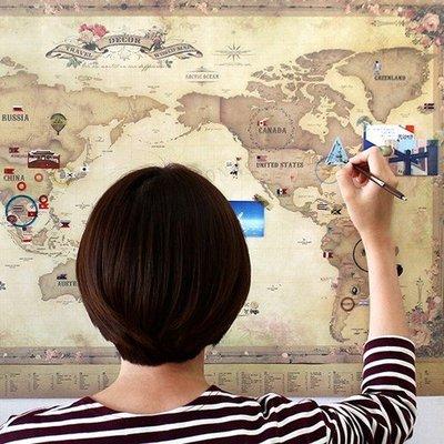 好心情日韓正品雜貨『韓國 indigo 』world map 環遊世界地圖+pvc透明覆膜+ 貼紙組
