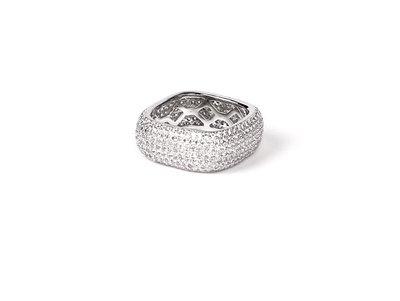 Lissom韓國代購~ice out ring 高品質鍍白金滿鉆戒指男女情侶 指環