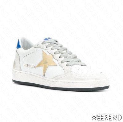 【WEEKEND】 GOLDEN GOOSE GGDB Ball Star 皮革 休閒鞋 白+藍色