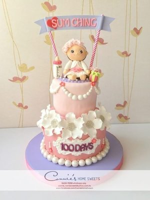 【Connie's Home Sweets】百日宴生日滿月蛋糕 Birthday Cake 100 Days Baby Shower Full Moon Baby Girl