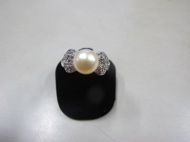 二手舖 NO.3991 天然珍珠 鑲鑽造型戒指 首飾飾品 全新