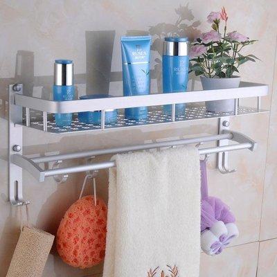 浴室置物架太空鋁毛巾架2層免打孔廁所洗...