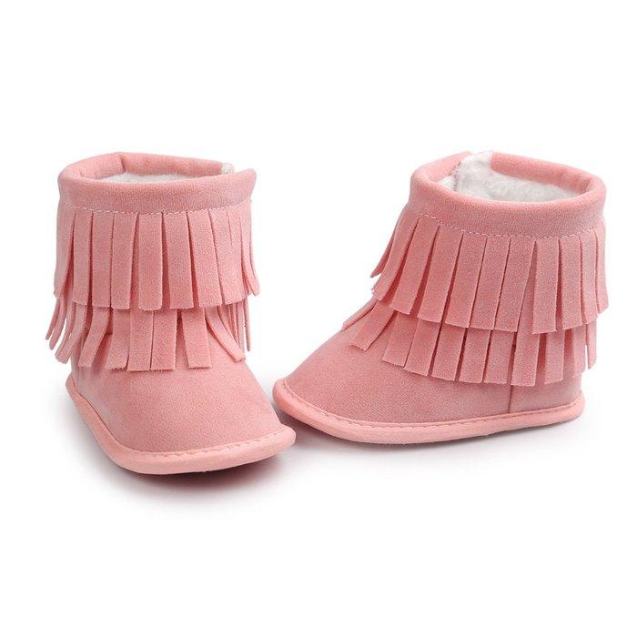 森林寶貝屋~粉色流蘇雪鞋~學步鞋~幼兒鞋~寶寶鞋~保暖鞋~嬰兒鞋~雪鞋~棉鞋~童鞋~粘扣設計~彌月送禮~特價