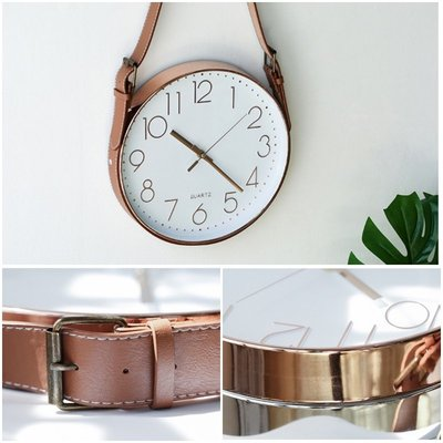 【Uluru】北歐風格 皮帶/皮革/皮質 時鐘 設計款掛鐘 靜音時鐘