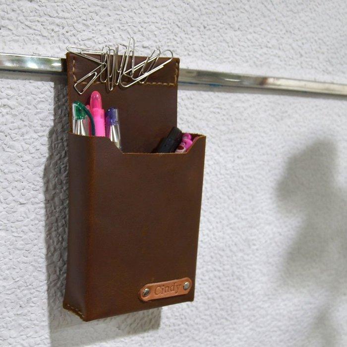 【U6.JP6 手工皮件】-純手工縫製進口牛皮天然手作縫製 .磁力吸文具袋 / 筆袋 / 萬用袋 / 辦公用品