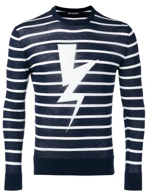 ~The Black Dan Moccani~ [限時特價] NEIL BARRETT 條文x閃電標誌 長袖針織套頭衫
