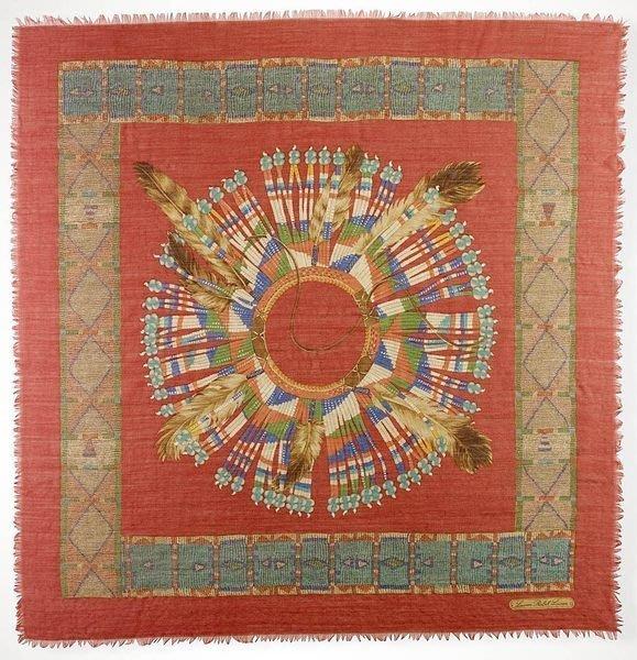 大降價!全新 LAUREN Ralph Lauren 經典美國印第安風格羊毛圍巾方巾,低價起標無底價!本商品免運費!