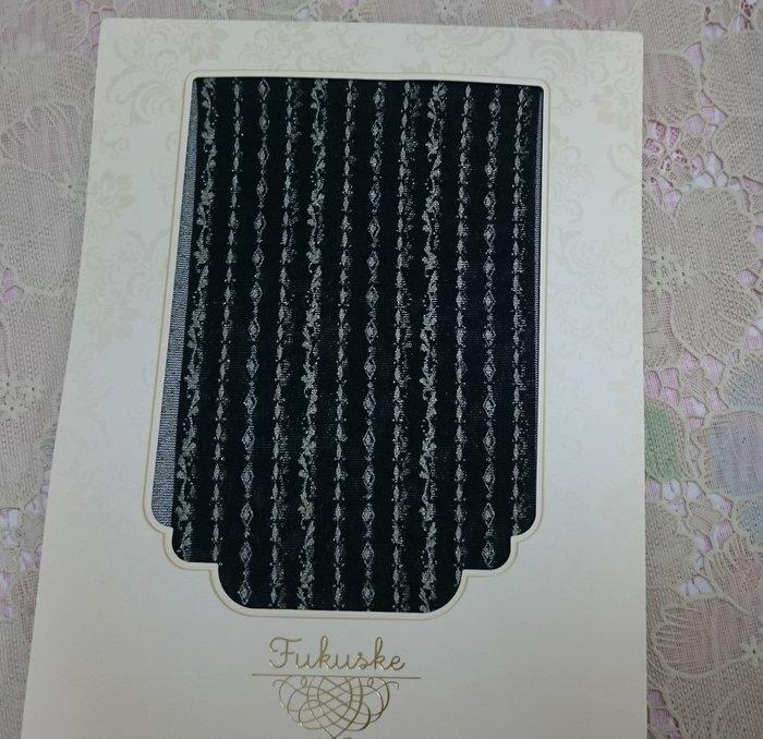 ~_~ 蕾卡小舖~ 福助 褲襪 黑色 網襪 金色 直線美 出色 舒適 超彈性 ~日幣1