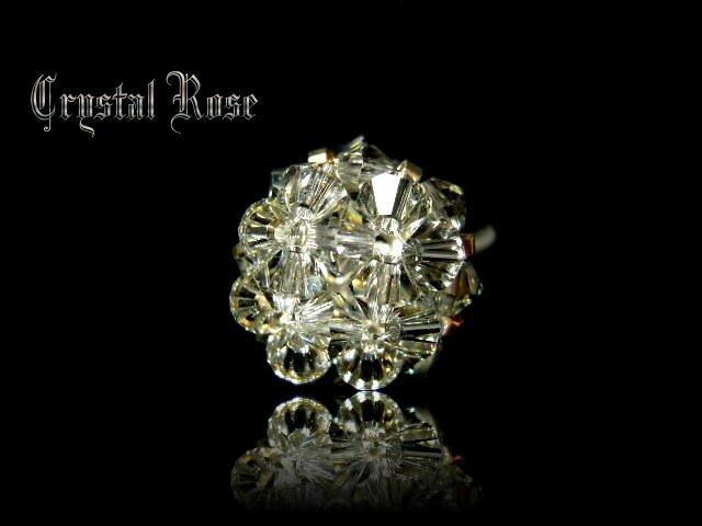 ※水晶玫瑰※ SWAROVSKI 水晶戒指~銀灰(HAND9)