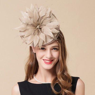 帽子女夏季女發飾新娘頭紗婚紗攝影發箍韓版百搭時尚羽毛新娘頭紗