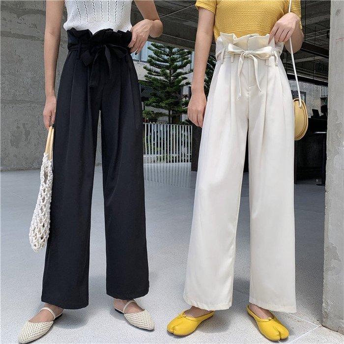 褲子女2019新款時尚chic風高腰垂感寬松氣質顯瘦花苞九分直筒褲女  衣品居 YPJ