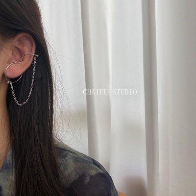 Cool酷兒飾品~阿柴夫#E742 INS歐美香港簡約冷淡百搭葫蘆型鍊條設計感耳骨夾