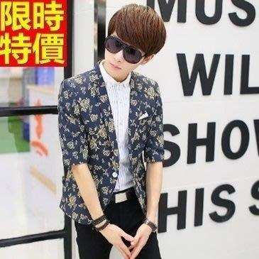 亞麻西裝 西裝外套-夏季薄款七分袖時尚修身男西服6色68q14[獨家進口][米蘭精品]