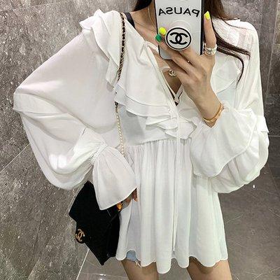 仙氣女神美翻上衣 白色荷葉領綁帶燈籠袖雪紡衫 艾爾莎【TGK8061】