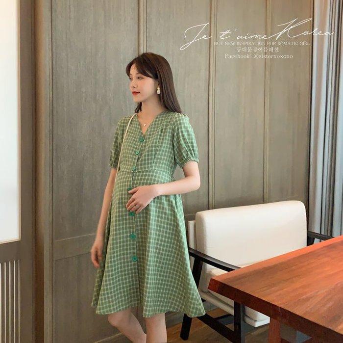 Sisterxoxo KOREA 正韓 韓 實拍 大尺碼 孕婦裝 氣質復古格子洋裝 短袖透氣涼爽短袖洋裝 高腰洋裝