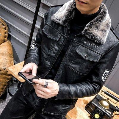【時尚先生男裝】#皮衣外套 2019秋冬新款皮衣男式皮毛一體機車pu皮上衣加絨加厚飛行夾克韓版皮夾克外套機車服
