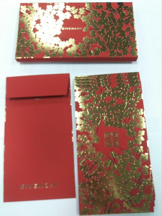 全新 精品 紅包袋 GIVENCHY 紀梵希 (一盒5入) 絲絨質感 台灣專櫃(另Swarovski Cartier)