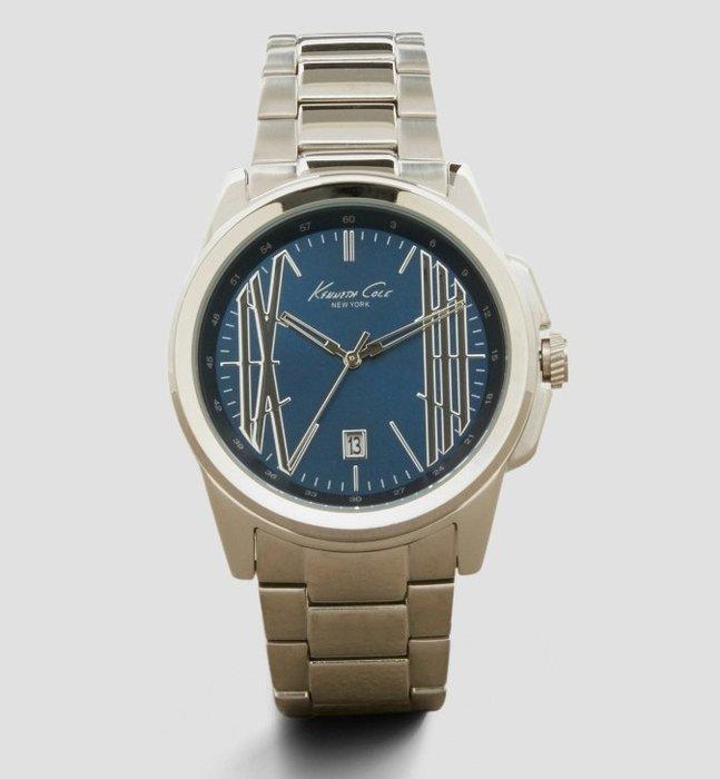 全新美國品牌 Kenneth Cole 藍色錶面銀色金屬錶帶帥氣手錶,附原廠禮盒,低價起標無底價!本商品免運費!