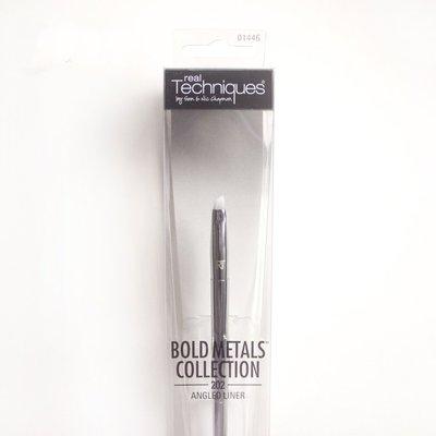 【愛來客 】英國Real Techniques Angled Liner 202  銀色桿斜角眼線刷化妝刷 1446#