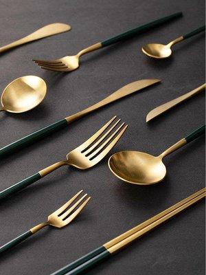 百貨通-leon綠金西餐餐具304不銹鋼主餐刀叉勺甜品勺筷子餐具禮盒裝