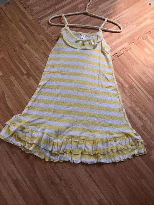 紫滕戀日系甜美睡衣 鵝黃橫條紋甜美荷葉邊裙裝現貨免等