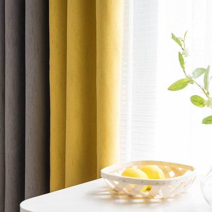 創意 居家裝飾 ins風北歐簡約現代全遮光高檔加厚棉麻網紅 拼接窗簾客廳臥室定制