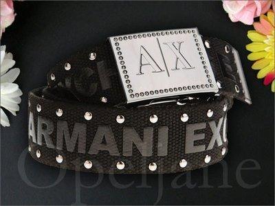 官網真品 美國 A|X Armani Exchange AX 阿曼尼鉚釘裝飾流行腰帶童軍休閒皮帶 S 號皮帶頭可拆