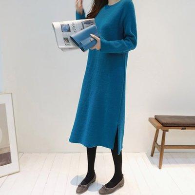 Bellee 正韓  40%羊毛圓領保暖側衩毛衣洋裝    (3色)【N112018】 預購