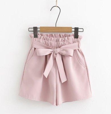 [K-5525]氣質高腰花苞短褲寬鬆繫帶褲子