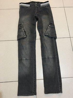 二手Defrost深灰色牛仔褲 單寧牛仔長褲 側面有口袋