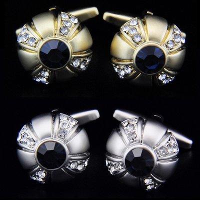 hello小店-圓形 亞光工藝 二色任選 人造水晶 鍍金袖扣袖釘袖口釘#袖扣#裝飾品#飾品#