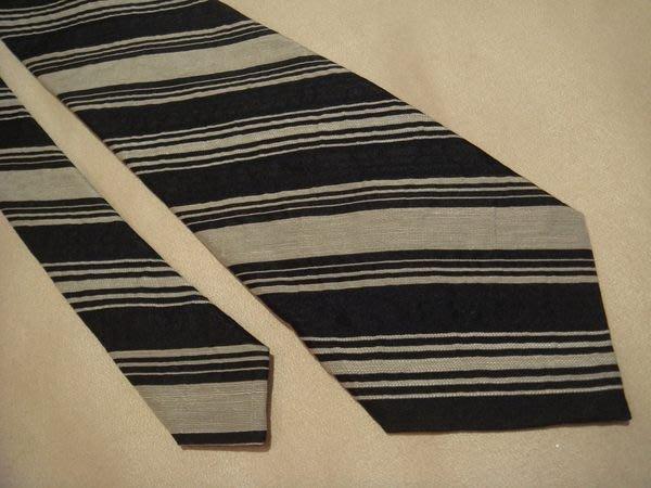 大降價!全新日本製 CK Calvin Klein 米色深藍色條紋純絲領帶,無包裝盒,低價起標無底價!本商品免運費!